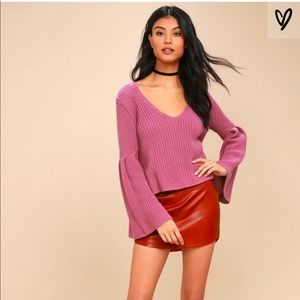 Free People Sweater Bell Sleeve Mauve Size Large